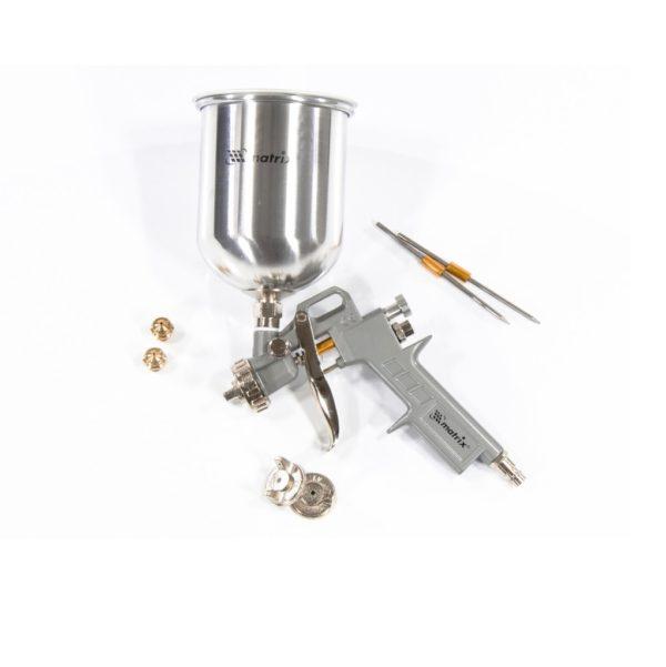 Краскораспылитель пневматический с верхним бачком V = 1,0 л + сопла диаметром 1.2, 1.5 и 1.8 мм